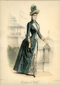 Le Coquet, detail on skirt 1880s Fashion, Victorian Fashion, Vintage Fashion, Steampunk Fashion, Gothic Fashion, Historical Costume, Historical Clothing, Vintage Dresses, Vintage Outfits
