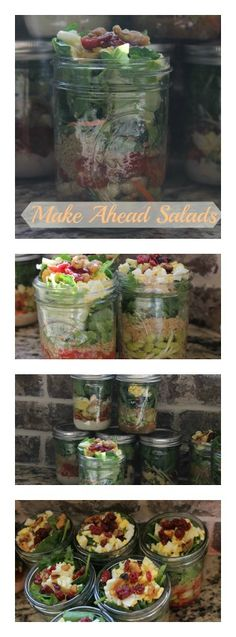 New Recipes Lunch Make Ahead Mason Jars Ideas Salad In A Jar, Big Salad, New Recipes, Vegetarian Recipes, Yummy Recipes, Protein Salad, Make Ahead Salads, Buffet Set, Easy Baked Chicken