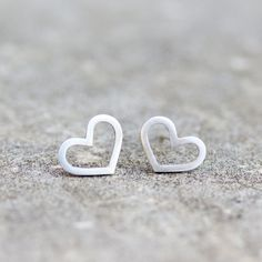 Heart studs - sterling silver heart stud earrings - minimal simple every day earrings (28.00 USD) by keepityours