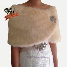Bridal Faux Fur Wrap Bridal Shawl Champagne by MyRadiantBeauty
