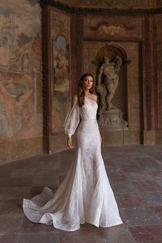 Jenevra one sleeve dropped mermaid wedding dress. Beadwork and sequin shimmer add opulence to the ethereal look of a floral-embroidered. Wedding Dress Mermaid Lace, Princess Wedding Dresses, Dream Wedding Dresses, Bridal Dresses, Wedding Gowns, Lace Dress, Cinderella Wedding, Lace Wedding, Dress Sleeves
