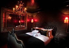 Red and black bedroom cool red black and gold bedroom designs for your interior home inspiration with red black and gold bedroom designs red black grey Goth Bedroom, Bedroom Red, Bedroom Decor, Bedroom Ideas, Warm Bedroom, Bedroom Inspiration, Writing Inspiration, Kids Bedroom, Black Bedroom Design