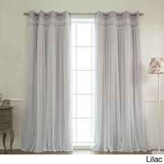 Aurora Home Lace Overlay Room Darkening Grommet Top Curtain Panel Pair (