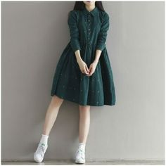 2019 Vintage Women Loose Dress Turn-Down Collar Character Full Sleeve Casual Ves. 2019 Vintage Women Loose Dress Turn-Down Collar Character Full Sleeve Casual Vestidos Femininos Corduroy Green Retro Lady Dress-geekbuyig Fitted Prom Dresses, Stylish Dresses, Cute Dresses, Casual Dresses, Casual Outfits, Cute Outfits, Dresses With Sleeves, Elegant Dresses, Full Sleeve Dresses