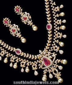 Diamond double layer necklace