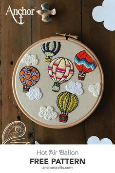 Dreamy freestyle embroidery with colourful hot air balloons in the middle of fluffy clouds! Designed by Dhara Shah. Diy Embroidery Patterns, Basic Embroidery Stitches, Embroidery Flowers Pattern, Creative Embroidery, Simple Embroidery, Embroidery Hoop Art, Cactus Embroidery, Fjallraven, Middle