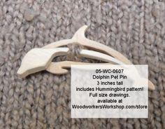 05-WC-0607 - Dolphin Pet Pins with Bonus Hummingbird Scrollsaw Pattern PDF