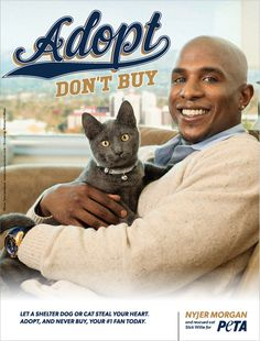 "Milwaukee Brewers outfielder Nyjer Morgan joins the ""Adopt, Don't Buy"" campaign."