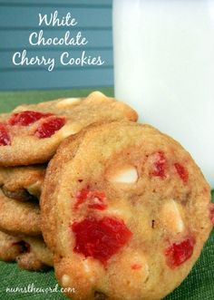 Softy and chewy cookies ready in 30 minutes packed with white chocolate chips and maraschino cherries is now one of my favorite treats!  Easy and scrumptious! #dessert #cookies