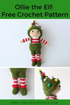 Crochet Soft Toys Ollie the elf toy crochet pattern - Ollie the Elf is michevious and fun, and he loves CHristmas! Make this cute Elf toy yourlsef as a decoration, toy or great gift for kids! Crochet Christmas Ornaments, Christmas Crochet Patterns, Holiday Crochet, Crochet Toys Patterns, Christmas Toys, Christmas Knitting, Stuffed Toys Patterns, Crochet Dolls, Crochet Angels
