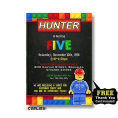 Lego Man Invitation. Lego Birthday. Lego Birthday Invitations.  Lego Birthday Party. Chalkboard Lego. Building Blocks Lego. Boy Lego 269 by 800Canvas on Etsy