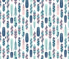 feathers pink navy mint girls sweet nursery feathers spots painted  fabric by charlottewinter on Spoonflower - custom fabric