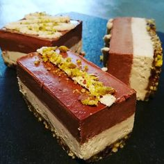Chocolate and coconut with a pistachio base  Gluten free