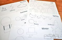 Free Printable Template for a Felt Board to Teach Seasons and Weather to Preschoolers