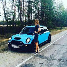 Mini cooper S blonde lady girl power! Light Blue black