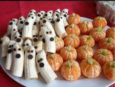 Healthy Halloween Party Treats! Banana ghosts and mini orange pumpkins! :-)