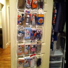 "Craft closet organized with a shoe organizer. Previous pinner says ""Thanks, Pinterest!"""