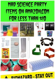 Find all of these things for a mad science party under $10 on Amazon!