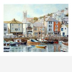 """""""Brixham"""", Giclee Print from an original watercolour by John Gillo. http://www.nickystevensongallery.co.uk"""