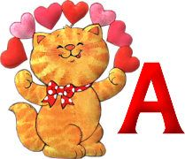 Alfabeto de gatito con arco de corazones. | Oh my Alfabetos!