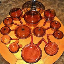 HUGE 27pc. Amber VISIONS Pyrex Corning Cook Ware Stove Top Oven Set EXCELLENT!!
