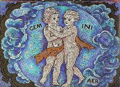 Gemini ~ The Heavenly Twins Symbol Mosaic Pictogram Full Moon In Sagittarius, Sun In Gemini, Gemini Art, Capricorn Goat, Zodiac Signs Gemini, Zodiac Art, Astrology Zodiac, Star Chart, New Moon