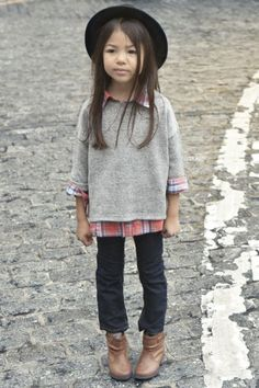hat, plaid shirt, jeans and ankle boots