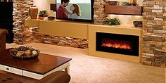 Interesting linear gas fireplace with tv off to the side.