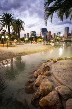 Beach in South Bank Park, Brisbane, Queensland, Australia Brisbane Australie, Brisbane Queensland, Brisbane City, Queensland Australia, Australia Travel, Western Australia, Brisbane Beach, Visit Australia, Paisajes