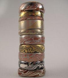 Mokume Gane rings  * beautiful wood-like metal patterns ~r0x~