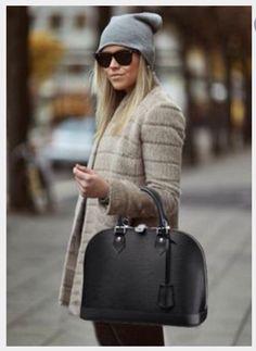 Vuitton Alma Epi Leather Pm Handbag Top Handle Black Noir Satchel