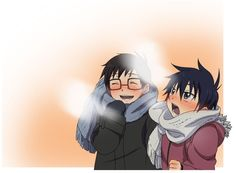 Little Rin and Yukio dressed up for the cold :)   Ao no Exorcist