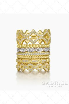 Gold stackable Diamond Rings
