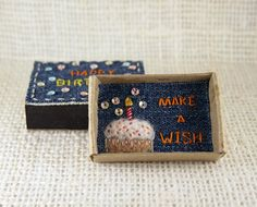 Happy Birthday Card Matchbox Make a Wish Card Small Tiny