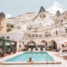 "Cappadocia, Turkey JACK MORRIS on Instagram: ""Morning dips by the ancient cave homes of Cappadocia ☀︎"""