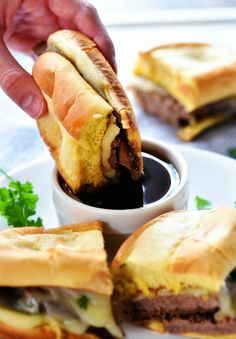 Slow Cooker French Dip Sandwiches - Life In The Lofthouse Beef Rump Roast, Slow Cooker Recipes, Cooking Recipes, Crockpot Recipes, One Pot Dinners, Roast Beef Sandwiches, Carlsbad Cravings, Slow Cooked Beef, How To Cook Beef