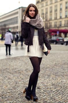 leather jacket, scarf, short skirt & tights