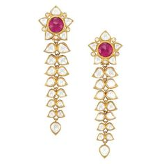 suchasensualdestroyer:    India, Kundun Earrings, rubies/diamonds/enamel/gold, c. 20th c. Front view