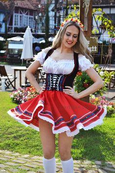 Traje Típico Alemão Vermelho Oxford Tradicional
