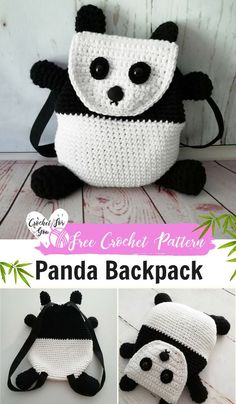 Crochet Panda Backpack Free Pattern. #crochetbackpack #freepattern #kids #panda