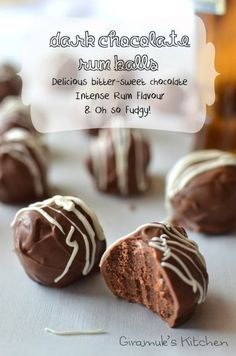 Chocolate Rum Balls - Brilliant Holiday time Treats! Intense Chocolate flavour with a good glug of Rum to celebrate!