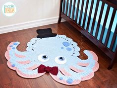 Crochet pattern PDF by IraRott for making an adorable octopus rug or reading mat Octopus Rug, Crochet Octopus, Crochet Socks, Crochet Yarn, Half Double Crochet, Single Crochet, Crochet Dinosaur, Crab Stitch, Hat Patterns