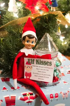 Elf on the Shelf telling the kids they can have Elf Kisses....