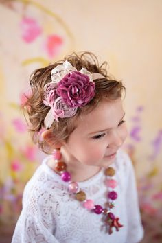 Mauve Flower Headband Baby Girls Toddler ; Lace Ruffle Flower double Rosette  Flower Headband for Baby Toddlers Girls
