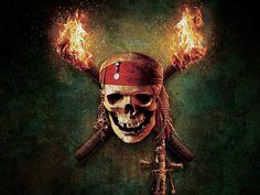 Pirates Of The Caribbean Skull Logo Flames Desktop #Wallpaper