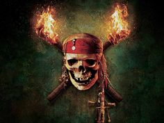 Pirates Of The Caribbean Skull Logo Flames Desktop #Wallpaper
