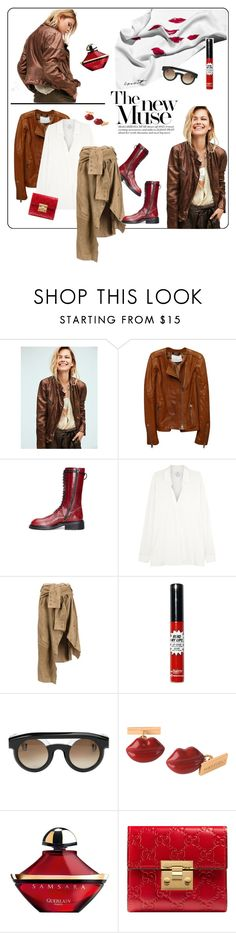 """red lips"" by vinograd24 ❤ liked on Polyvore featuring Garance Doré, Free People, Dolan, Ann Demeulemeester, Vince, Faith Connexion, Jacques Marie Mage, Mattioli, Guerlain and Gucci"