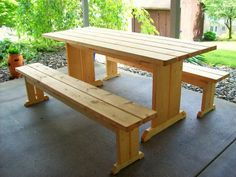 Picnic Table With Detached Benches | Picnic Tables, Banquettes And Sunroom