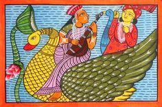 Saraswati and Kartik - Folk Art Paintings (Kalighat Painting - Water Color on Paper - Unframed) Bengali Art, Indian Art Paintings, Indian Folk Art, Madhubani Painting, India Art, Beautiful Goddess, Hindu Deities, Tribal Art, Art Forms