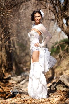 Burning Man  White Wedding Eyelet Cotton and Crinoline Tulle Bustle. $155.00, via Etsy.